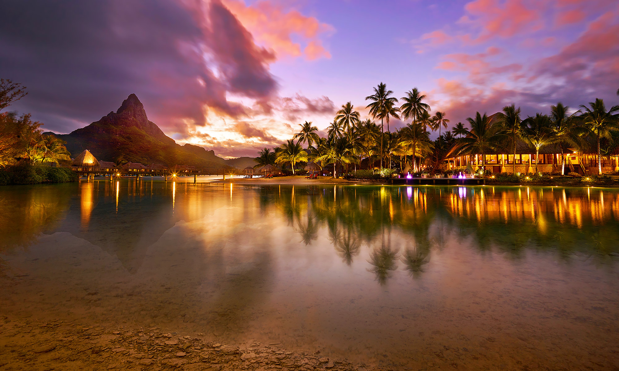 Luxury-Resort-Photography-Bora-Bora-Mountain-Sunset