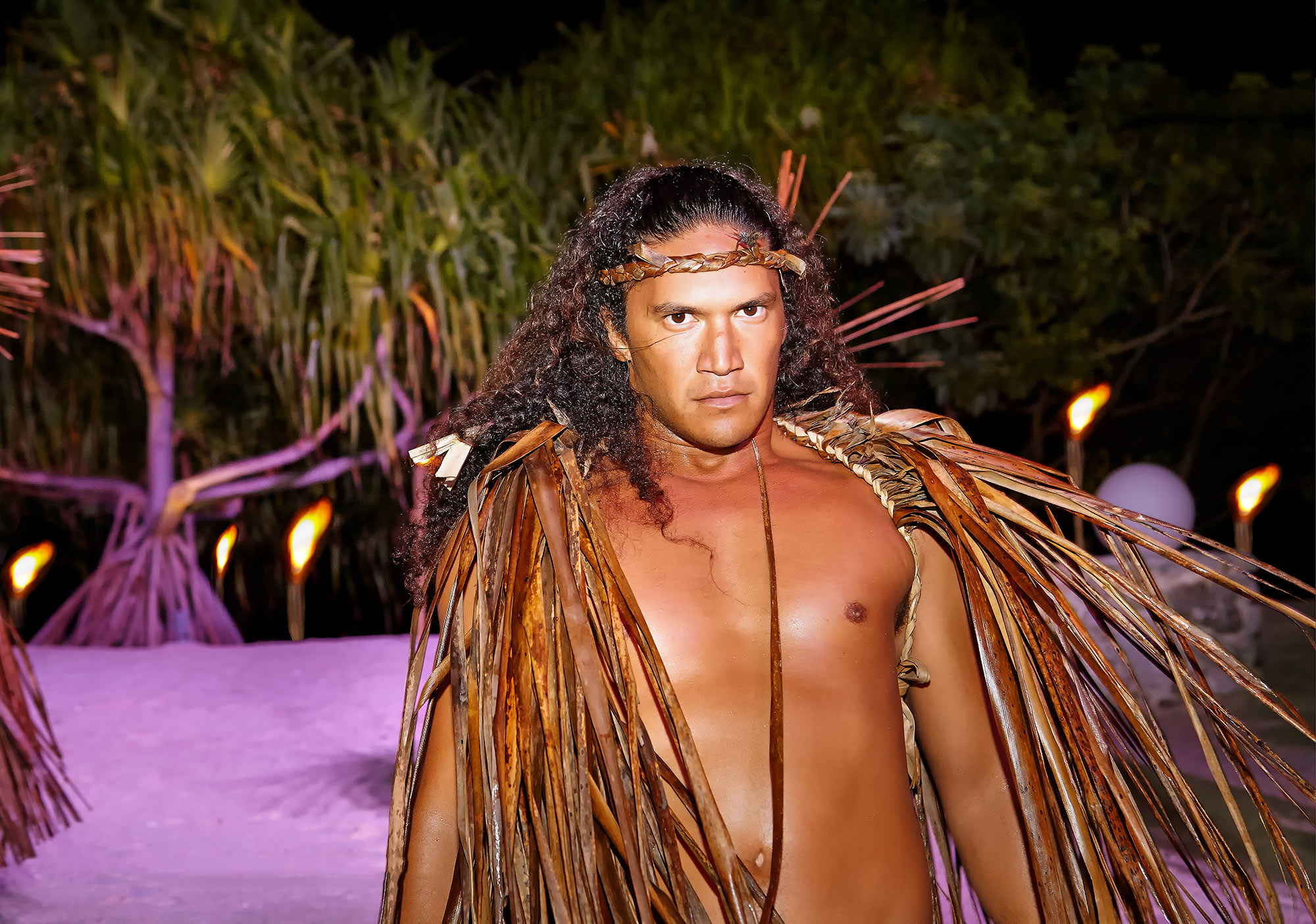 Tahiti-Travel-Photography-Warrior-With-Tiki-Torches